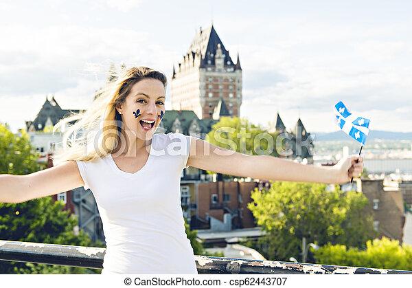 都市, 女, 国民, frontenac, ケベック, 前部, 城, 休日, 祝う - csp62443707