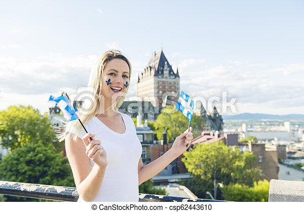 都市, 女, 国民, frontenac, ケベック, 前部, 城, 休日, 祝う - csp62443610