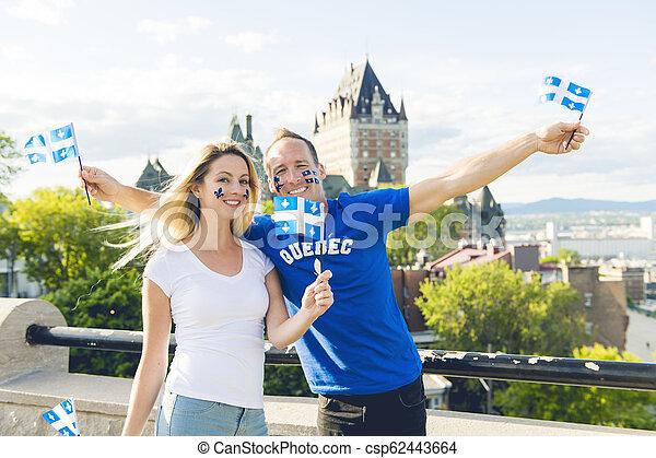 都市, 恋人, frontenac, ケベック, 前部, 城, 休日, 祝う, 国民 - csp62443664