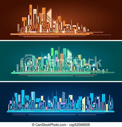都市, 抽象的, イラスト, スカイライン, ベクトル - csp52566658
