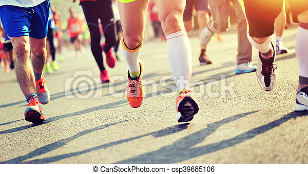 都市, 未確認, 動くこと, マラソン, 足, 運動選手, 道 - csp39685106