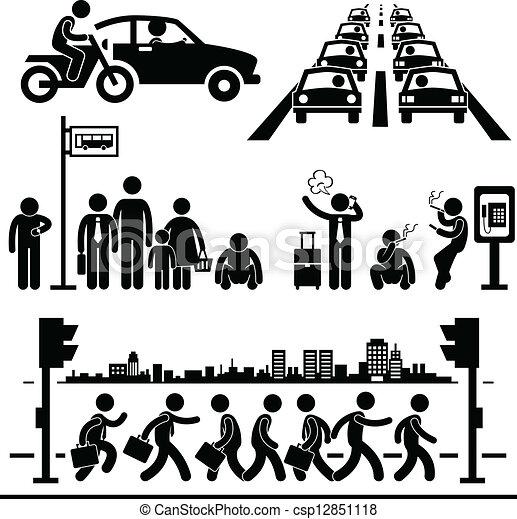 都市 生活, 忙しい, pictogram - csp12851118