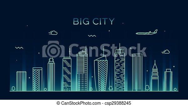 都市, 線である, 大きい, イラスト, スカイライン, ベクトル, 最新流行である - csp29388245