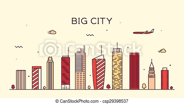 都市, 線である, 大きい, イラスト, スカイライン, ベクトル, 最新流行である - csp29398537