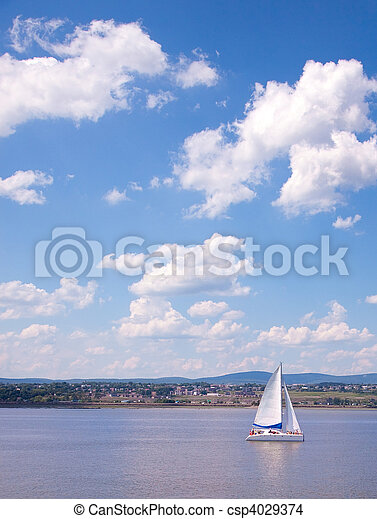 都市, 航海, ケベック, st-lawrence, 川の ボート - csp4029374