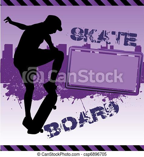 都市, 都市 スカイライン, ベクトル, skateboarder, 構成 - csp6896705