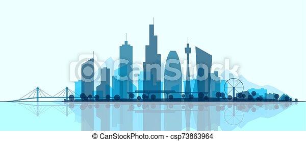 都市, 都市, panorama., 都市の景観, シルエット, illustration., スカイライン, park., 現代, 抽象的, 景色。, ダウンタウンに, オフィス, 超高層ビル, 建物, 未来派, 町 - csp73863964
