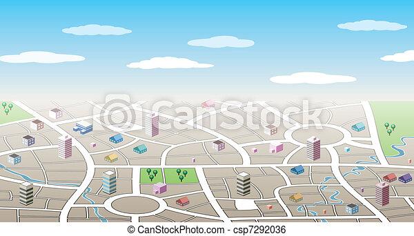 都市, 3d, 地図 - csp7292036