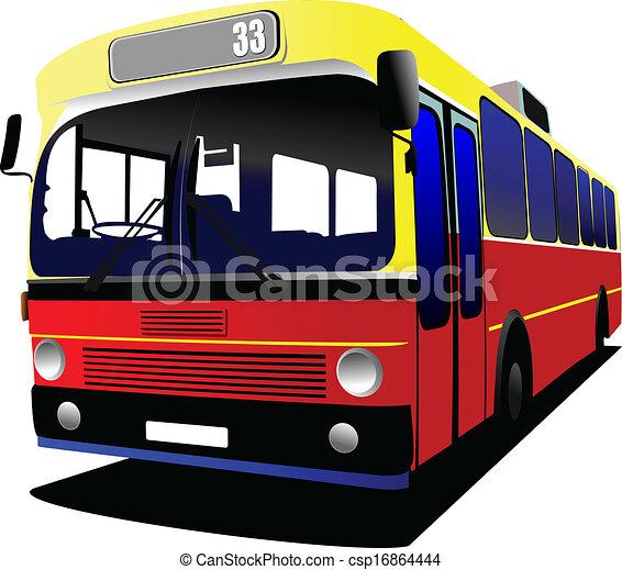 都市, coach., ベクトル, bus., illustratio - csp16864444