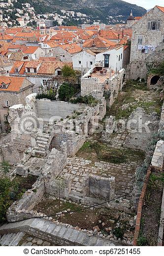 都市, croatia, 古い, dubrovnik, 光景 - csp67251455