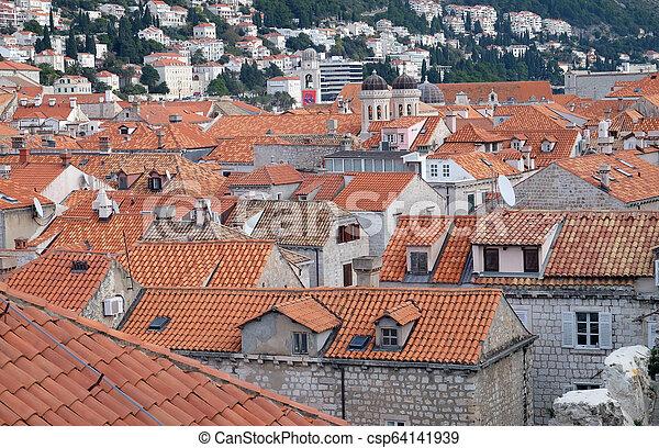 都市, croatia, 古い, dubrovnik, 光景 - csp64141939