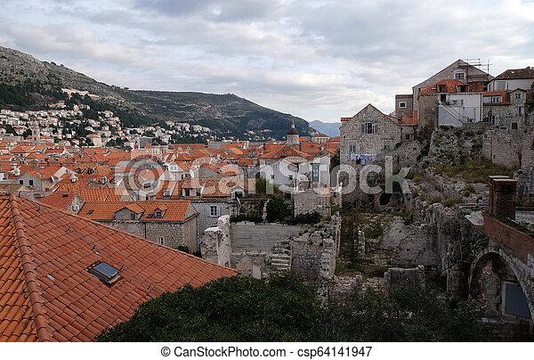 都市, croatia, 古い, dubrovnik, 光景 - csp64141947