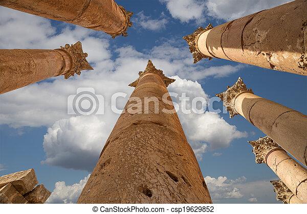 都市, governorate, 最も大きい, jerash, ローマ人, ヨルダン人, ヨルダン, antiquity), 資本, (gerasa, コラム - csp19629852