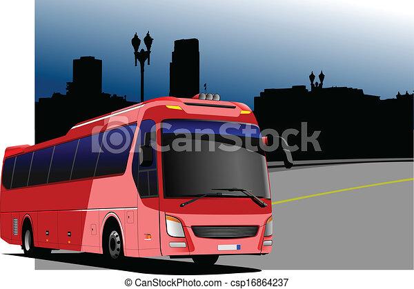 都市, imag, パノラマ, 観光客, バス - csp16864237