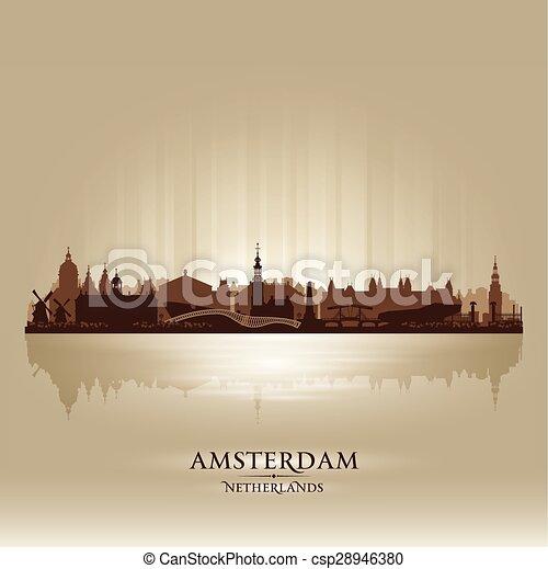 都市, netherlands, シルエット, スカイライン, ベクトル, アムステルダム - csp28946380