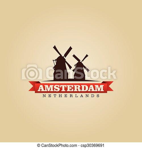 都市, netherlands, シンボル, イラスト, ベクトル, アムステルダム - csp30369691
