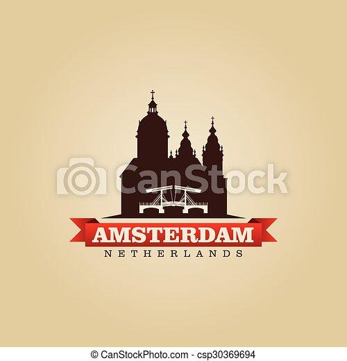 都市, netherlands, シンボル, イラスト, ベクトル, アムステルダム - csp30369694