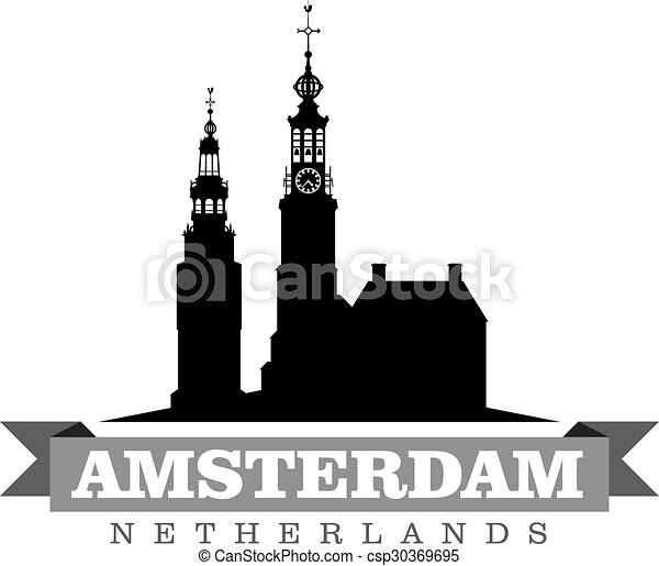 都市, netherlands, シンボル, イラスト, ベクトル, アムステルダム - csp30369695