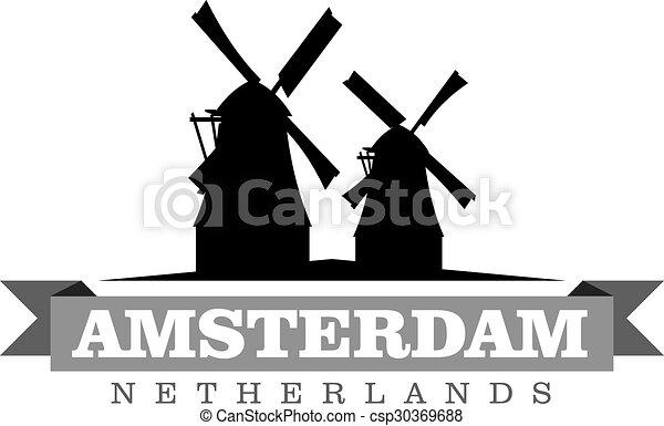 都市, netherlands, シンボル, イラスト, ベクトル, アムステルダム - csp30369688