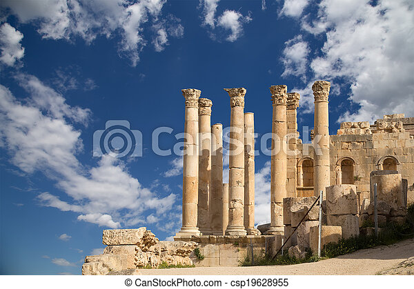 都市, zeus, governorate, 資本, jerash, ヨルダン人, ヨルダン, antiquity), 最も大きい, (gerasa, 寺院 - csp19628955