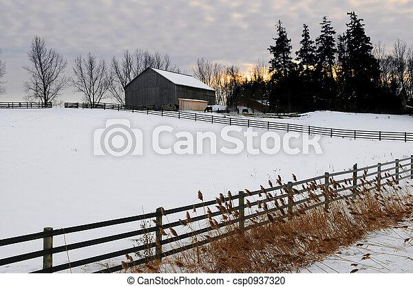 鄉村, 冬天風景 - csp0937320