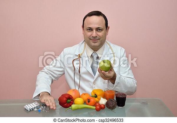 配藥, 去, 推, 產品, 醫生 - csp32496533