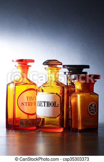 配藥, 管形瓶, 老 - csp35303373