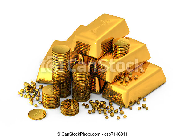 酒吧, 硬币, 金子, 3d - csp7146811