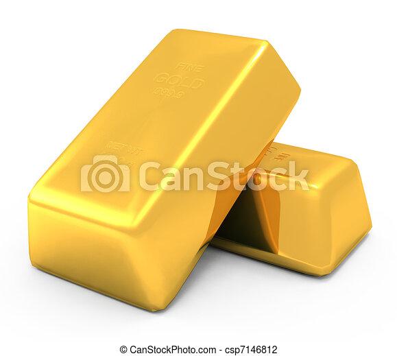 酒吧, 硬币, 金子, 3d - csp7146812