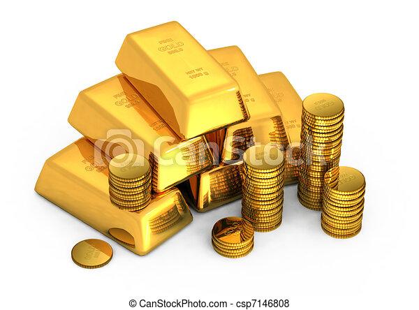 酒吧, 硬币, 金子, 3d - csp7146808