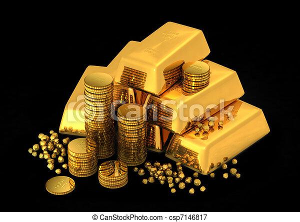酒吧, 硬币, 金子, 3d - csp7146817