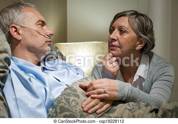 醫院, 擔心, 病人, 年長者, 妻子 - csp18228112