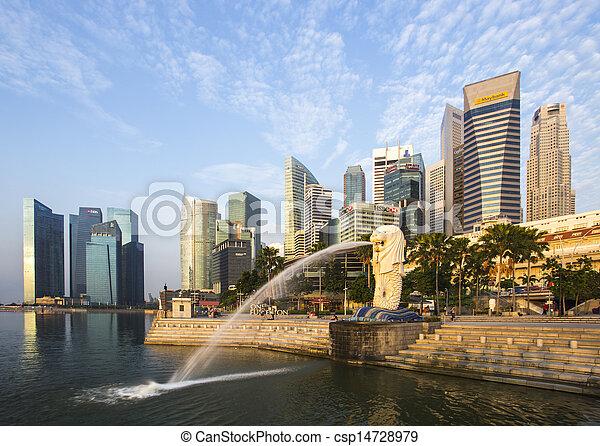 里程碑, merlion, 日出, 新加坡 - csp14728979