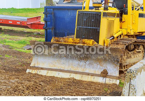 重い義務, 坑夫, 装置, 建設, 駐車される, トラクター - csp46970251