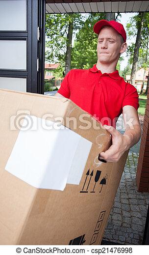 重い, 箱, 出産, 保有物, 人 - csp21476998