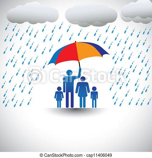 重い, 表す, umbrella., 傘, カラフルである, 家族, &, 愛, グラフィック, 父, 雨, 含む, 妻, children(concept, 彼の, etc), 保有物, 心づかい, 保護, カバー - csp11406049