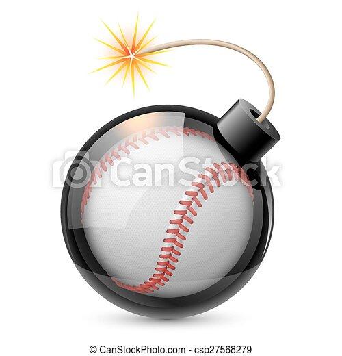 野球, 抽象的, 爆弾, のように, 形づくられた - csp27568279