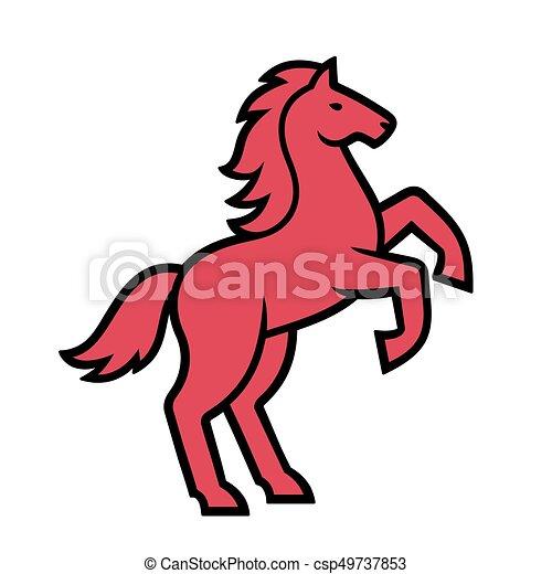 野生の 馬 イラスト 地位 馬 Illustration 種馬 定型 後ろ足で