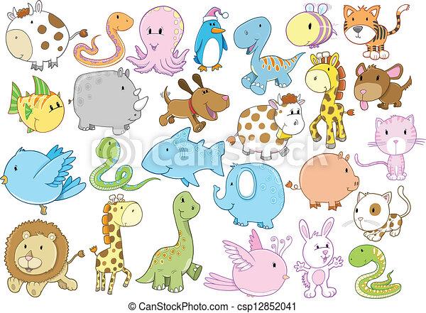 野生生物, ベクトル, セット, 動物 - csp12852041