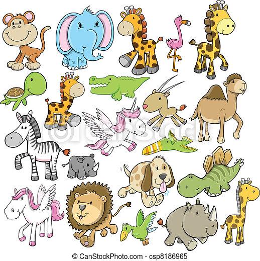 野生生物, ベクトル, デザイン, セット, 動物 - csp8186965