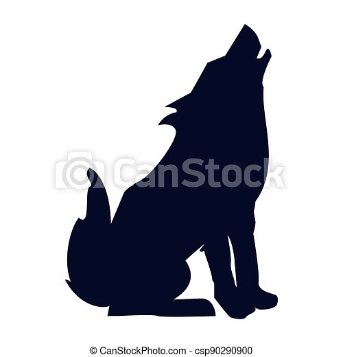 野生 狼 シルエット 狼 シルエット アイコン 野生 動物 Canstock