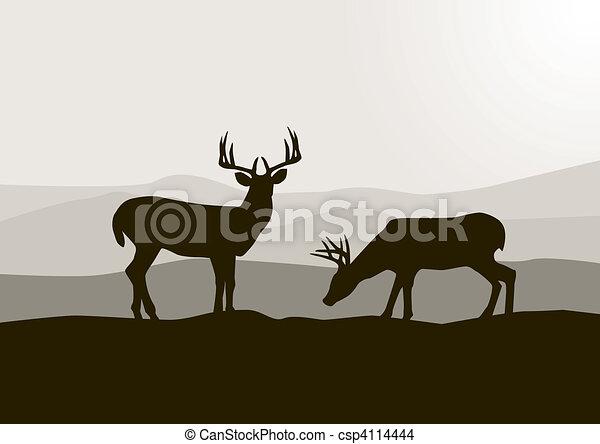 野生, 鹿, シルエット - csp4114444