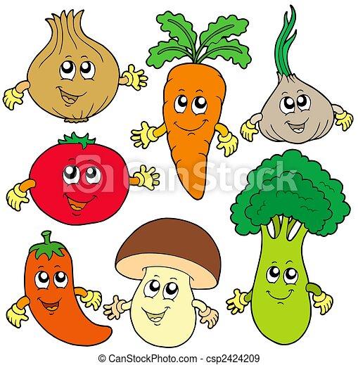 野菜, かわいい, 漫画, コレクション - csp2424209