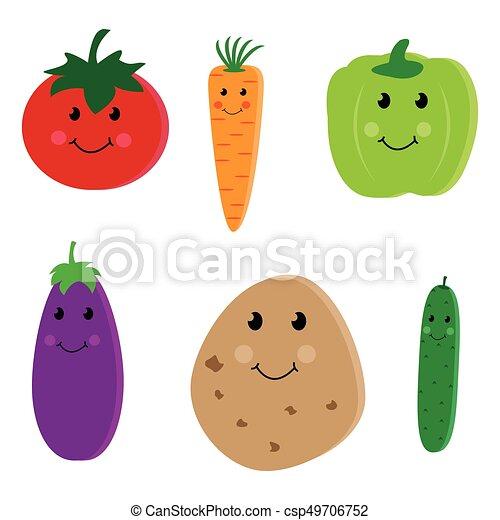 野菜 かわいい 漫画 特徴 かわいい 背景 隔離された イラスト