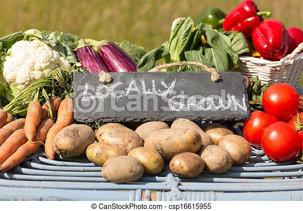 野菜, 有機体である, 立ちなさい, 市場, 農夫 - csp16615955