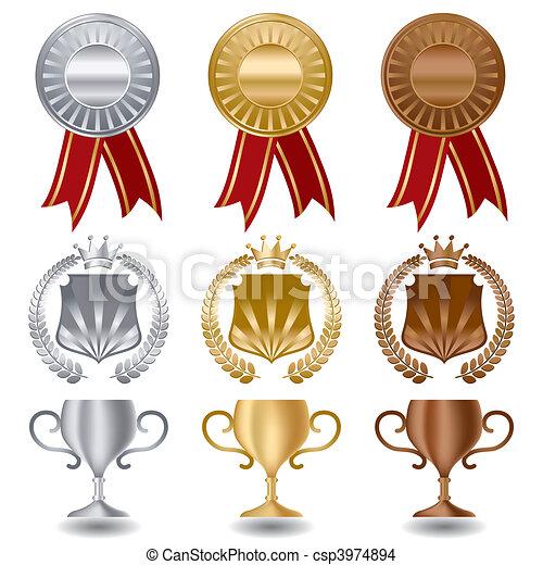 金の銀製の青銅, メダル - csp3974894