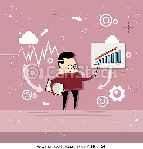 金融, ビジネス, グラフ, 提示, チャート, アジア人, レポート, 人 - csp43465454