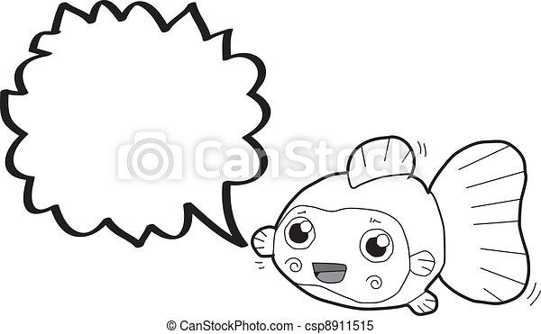 金魚, 泡, スピーチ, 漫画 - csp8911515