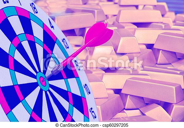 金, さっと動きなさい, 金塊, ターゲット, ダート盤, 赤, ビジネス, 矢, バックグラウンド。 - csp60297205