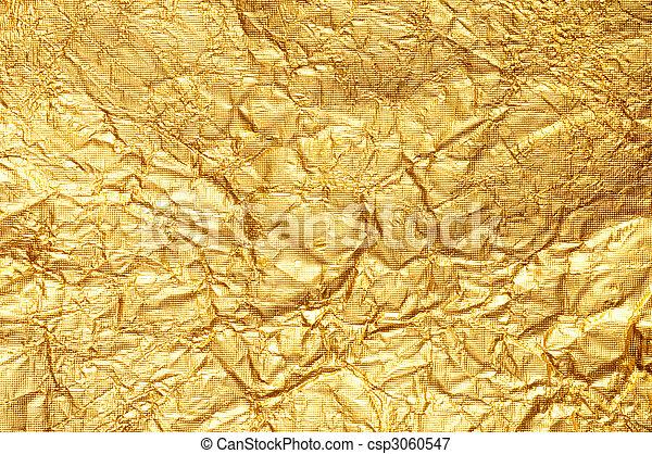 金, しわくちゃになった, ホイル, 背景, textured - csp3060547